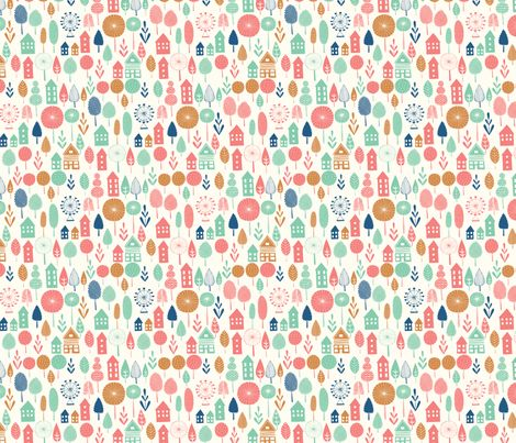 little summer village fabric by sonny: Summer Village, Design Inspiration, Village Fabrics, Fabulous Fabrics, Diapers Fabrics, Custom Fabrics, Spoonflower, Gifts Wraps, Fabrics Art
