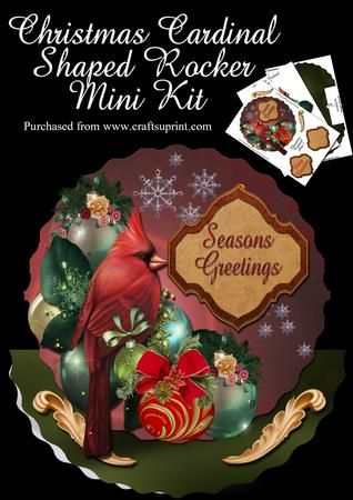 ChristmasCardinal Rocker  on Craftsuprint - Add To Basket!