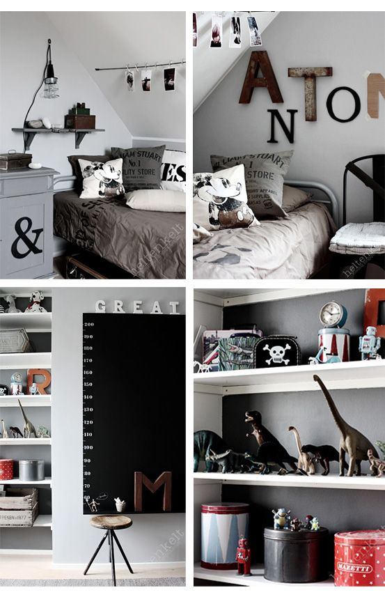 Great black and white simple but fun boys room - though could always be for a girl too! Shown as a mickey mouse room but could be done with any theme using simple prints