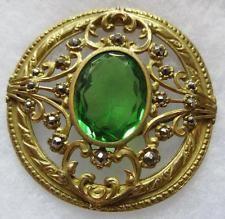 STUNNING! LARGE Antique GAY 90's Gilt Openwork BUTTON Emerald GLASS & Cut Steels