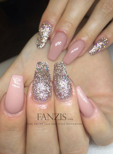 Blush pink and Glitter Coffin Nails