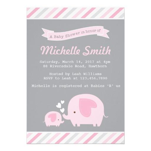 Elephant Baby Shower Invitation.  $1.95