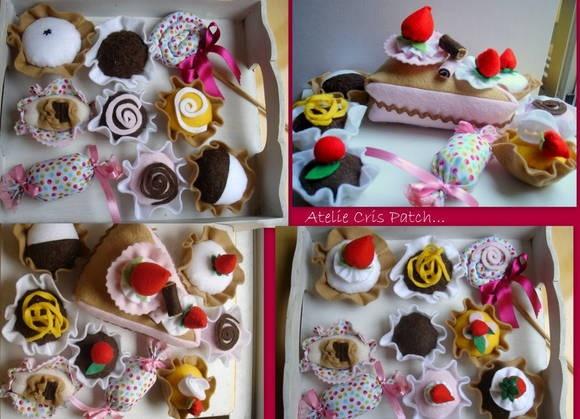 doces variados em feltro, doces 6,00 unid bala e pirulito tecido 4,50 bolo decorado fatia  6,90 R$ 6,00
