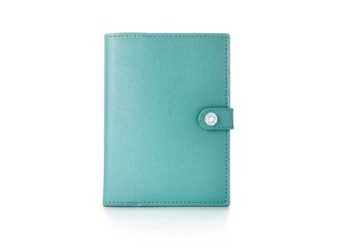 Blue PVC Women Passport Holder with Magnet Closing