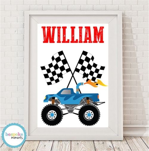 Monster Truck Name Print by Bespoke Moments. Worldwide Shipping Available.