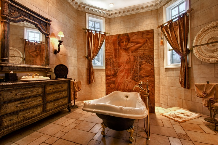 This Beautiful Master Bathroom features a Victorian style clawfoot bathtub, shower and double custom vanity. This house is exclusively represented by Vitale Sunshine Realtors. Take a tour of the whole house here http://35peterct.greatluxuryestate.com/