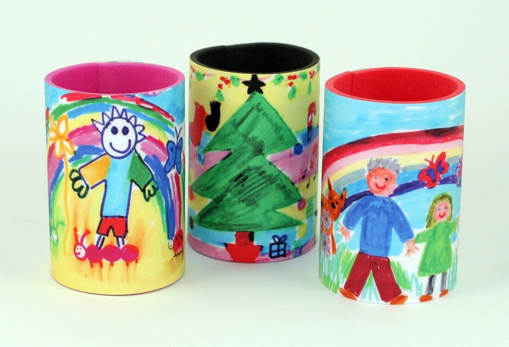 Get your class to sketch, paint or draw their own designs - koozies ideal for Father's Day!