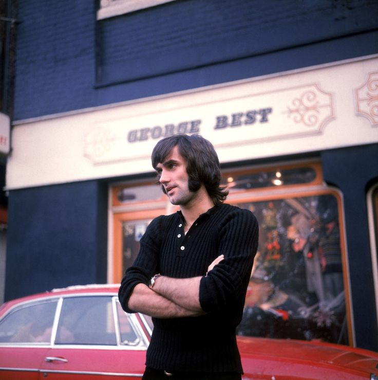 George Best in front of his fashion boutique, Bridge Street, Manchester, 1970.