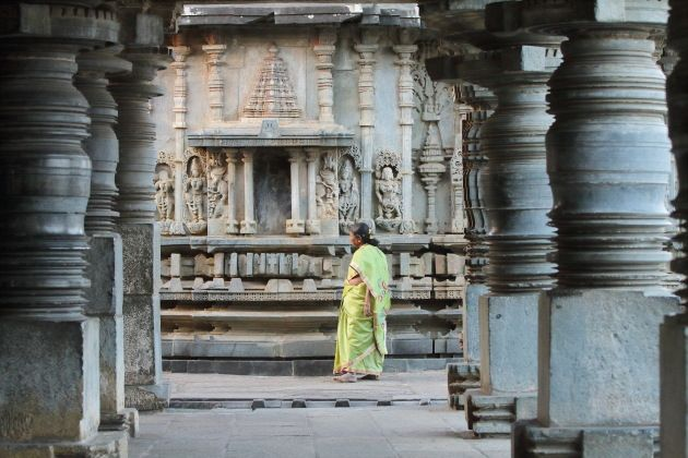 The famous pillars of Hoysala architecture at Belur, Karnataka