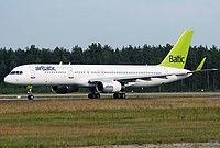 Air Baltic Boeing 757-256(WL) YL-BDC aircraft, skating at Latvia Riga International Airport. 29/07/2013.