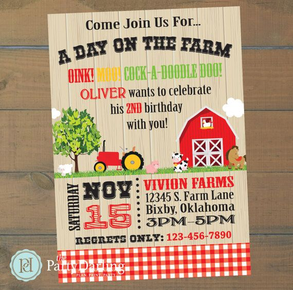 the 25+ best farm party invitations ideas on pinterest | farm, Birthday invitations