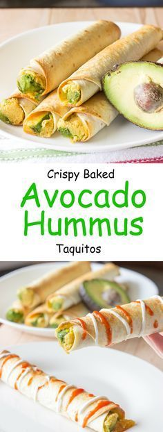 Avocado hummus taquitos are tortillas with hummus, sliced avocado, and shredded…