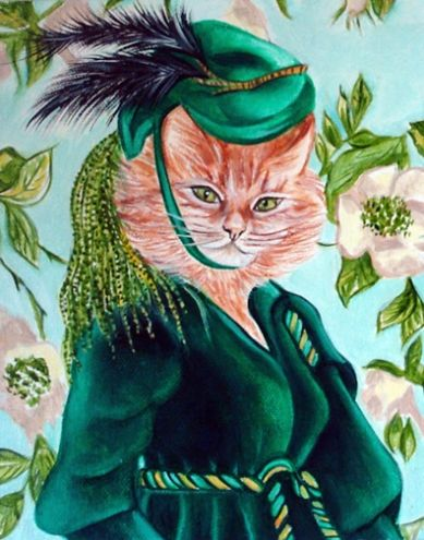 Scoot up in the attic and get me Ma's old box of patterns said Scarlett, Cats in Clothes by k Madison Moore, painting by artist k. Madison Moore