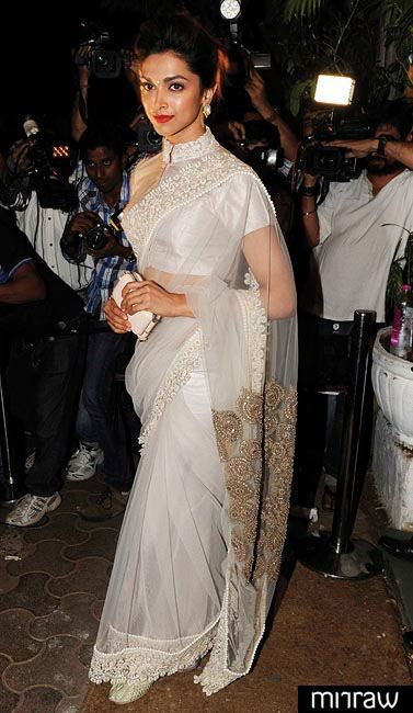 Deepika padukone in white net saree looks pretty