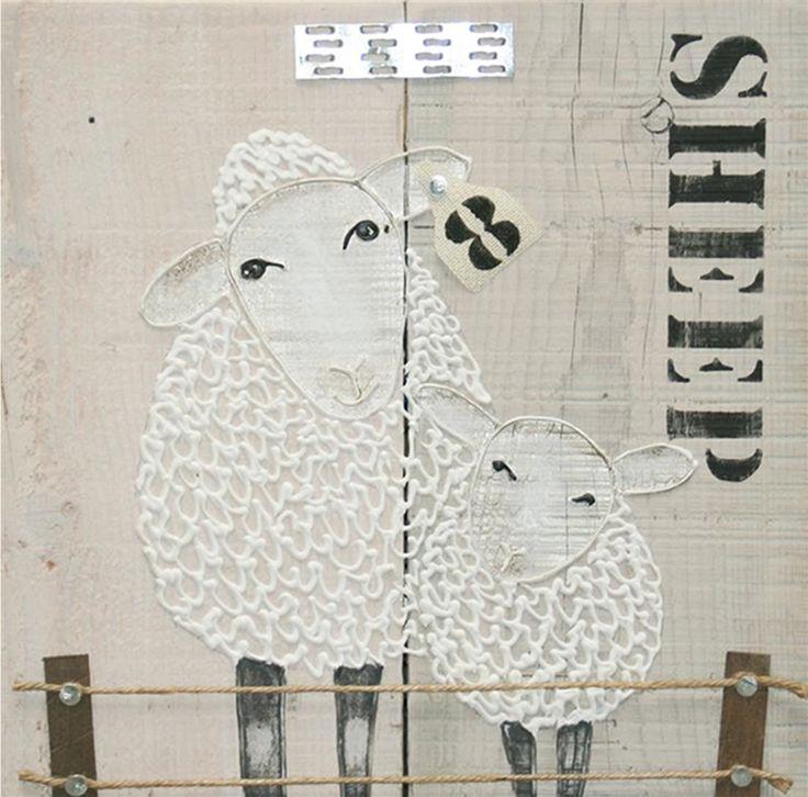 ST0518A schilderij schapen steigerhout diverse afmetingen - kopen bij mooiaandemuur.com
