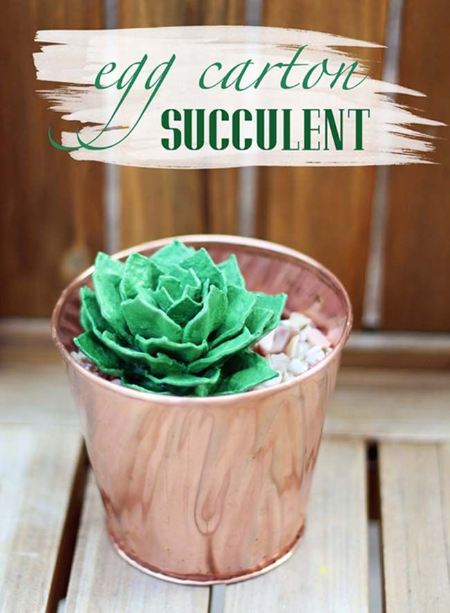 Upcycle // Egg Carton Succulent via bliss bloom blog