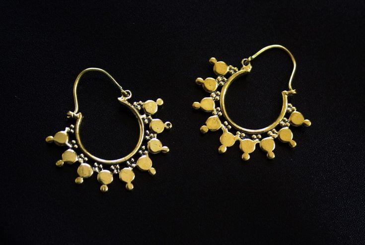 Ohrringe-+Creolen+Ohrringe,Goldene+Messing+creoles+von+IndianRoute+auf+DaWanda.com