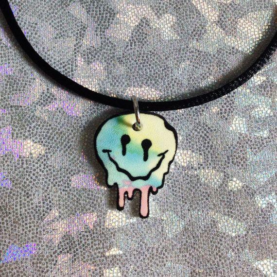 Pastel Melting Smiley Face Choker / 90s Choker / by WeekendCloset