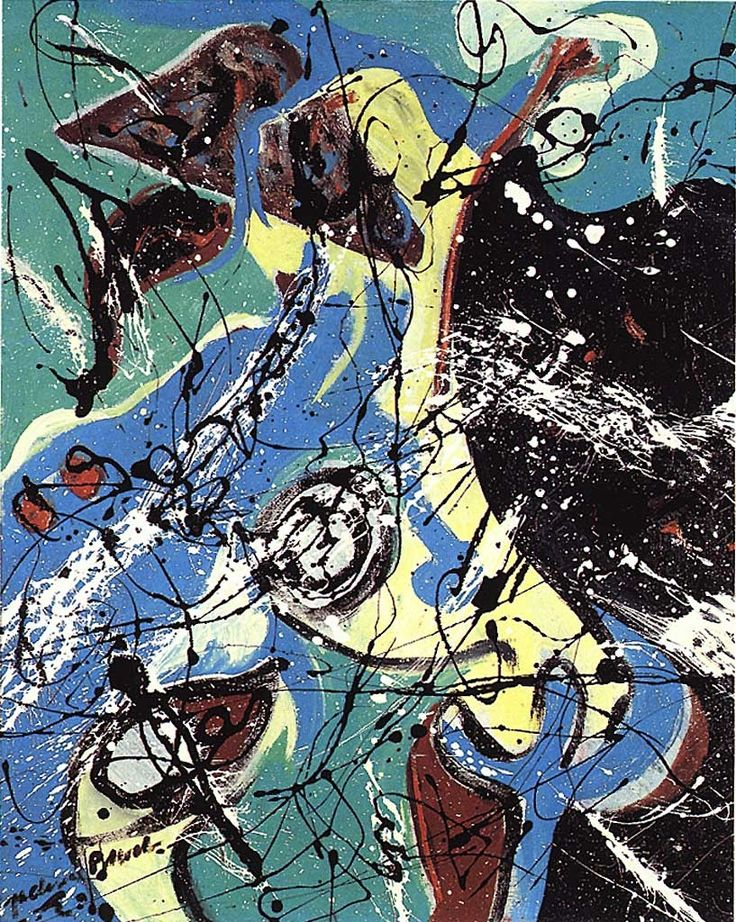 Jackson Pollock (1912 - 1956) | Abstract-Expressionism |  Water Birds, 1943