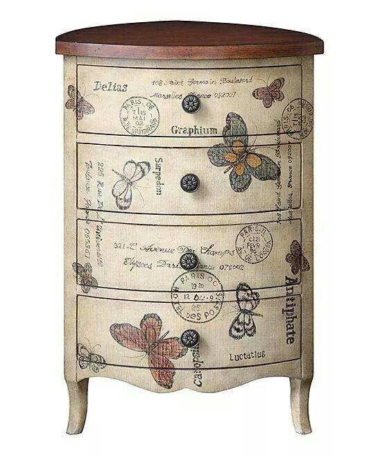 Hermosa mesita auxiliar con cajones y viniles de mariposas #vintage