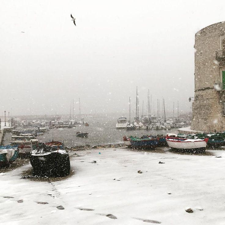 Il porto e la neve ❄️ #giovinazzo #neve #winter #snow
