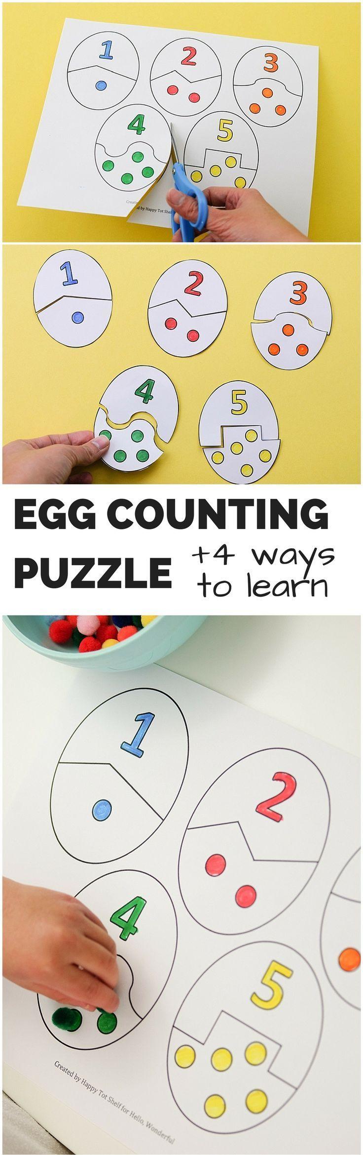 Egg Counting Puzzle Aktivität mit 4 Möglichkeiten zu lernen. Kostenlose Prin