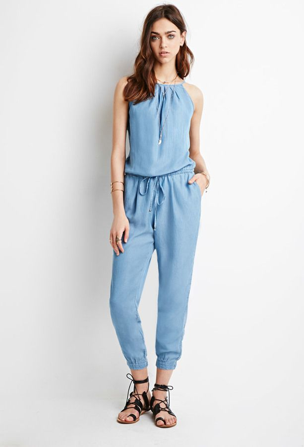 $32, Light Blue Denim Jumpsuit: Forever 21 Denim Drawstring Jumpsuit. Sold by Forever 21. Click for more info: https://lookastic.com/women/shop_items/284699/redirect