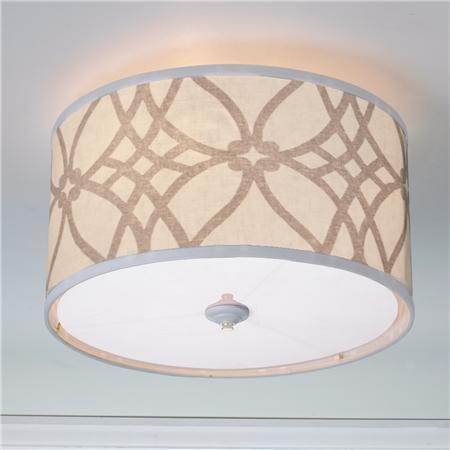 Trellis Linen Drum Shade Ceiling Light - overhead lighting upstairs?