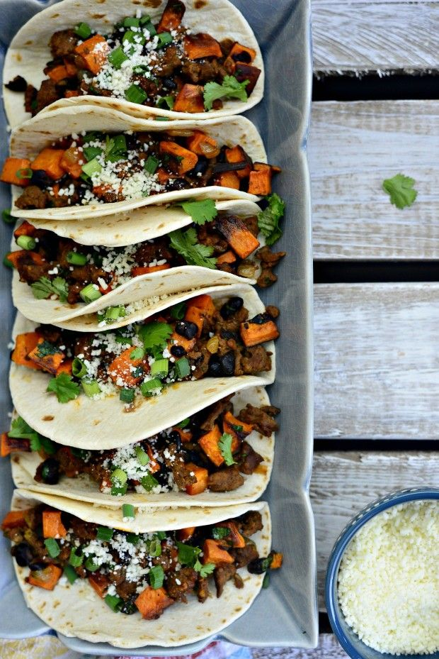 Chorizo, Sweet Potato and Black Bean Tacos l SimplyScratch.com