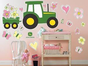 john deere merchandise: girl's pink john deere tractor and butterfly wall decorations