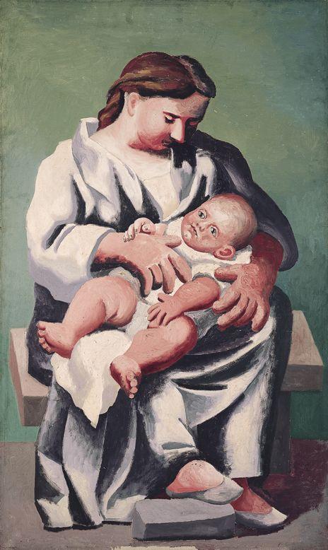 Picasso : Fontainebleau 1921. Entre 1921 y 1923, Picasso dedicó un importante grupo de obras al tema de la maternidad. El sujeto la maternidad de Olga y nacimiento de su hijo Paul.  Museo Picasso Málaga.