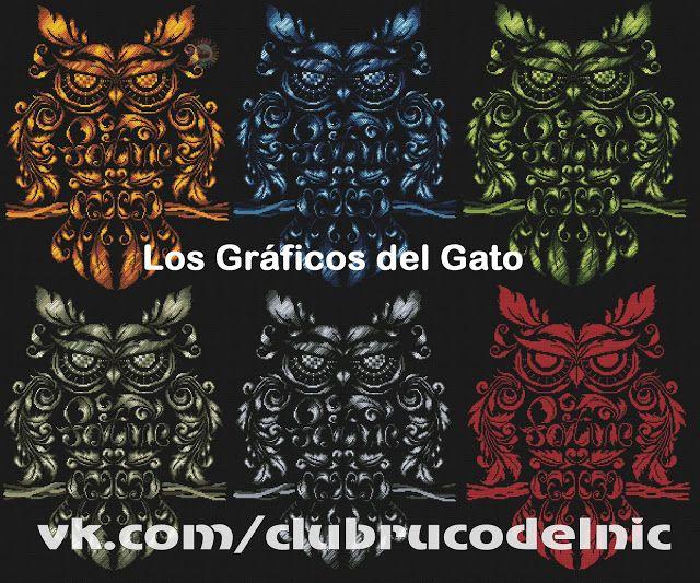 los gráficos del gato: BUHOS COLORES  #graficobuhos #buhospuntodecruz #puntodecruzanimales #puntodecruz #graficos #patrones #labores #manualidades #LosGraficosDelGato #PatronesNikki