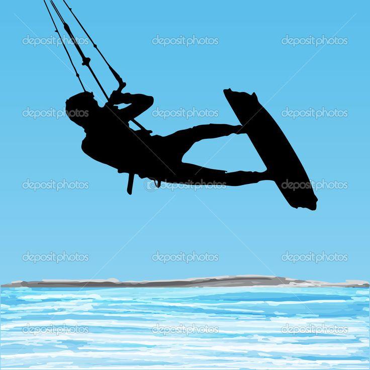 sagoma salto aerea kiteboarder — Illustrazione Stock #26393269