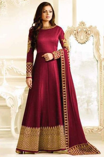 Rani Pink Color Silk Fabric Heavy Embroidered Gorgeous Look Indian Women Fashion Drashi Dhami Wedding Wear Floor Length Anarkali