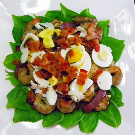 Inspired By eRecipeCards: Spinach Salad with Warm bacon Dressing ala The Life & Loves of Grumpy's HoneyBunch