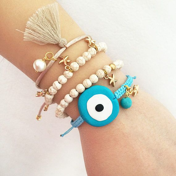 evil eye bracelet white turquoise gemstone summer jewelry