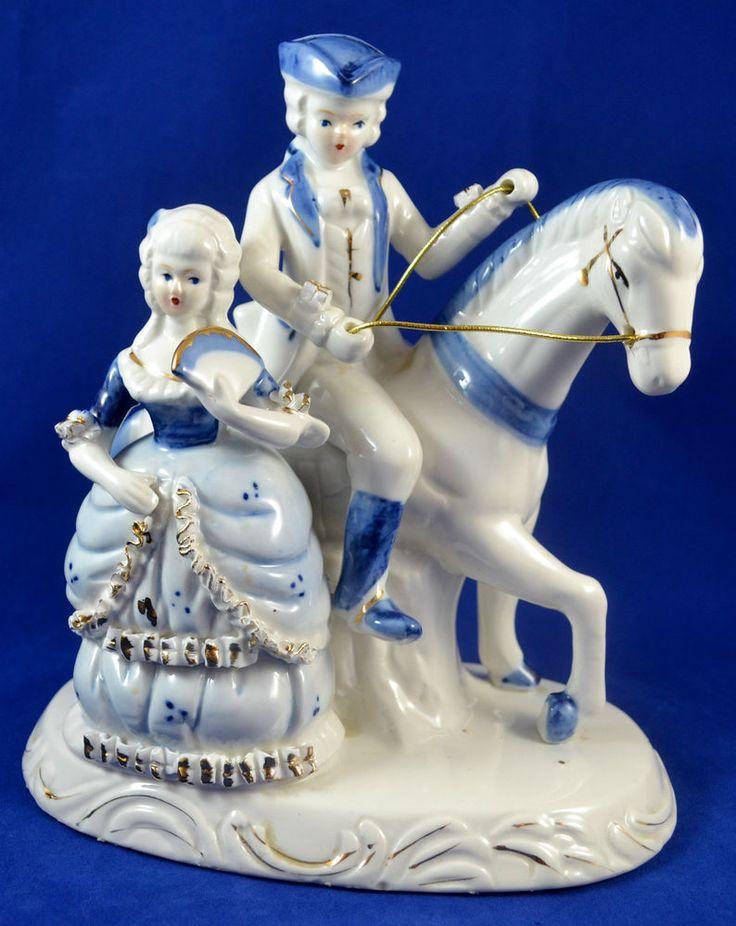 Vtg Cobalt <b>Blue and White Porcelain</b> Figurines Colonial Man ...