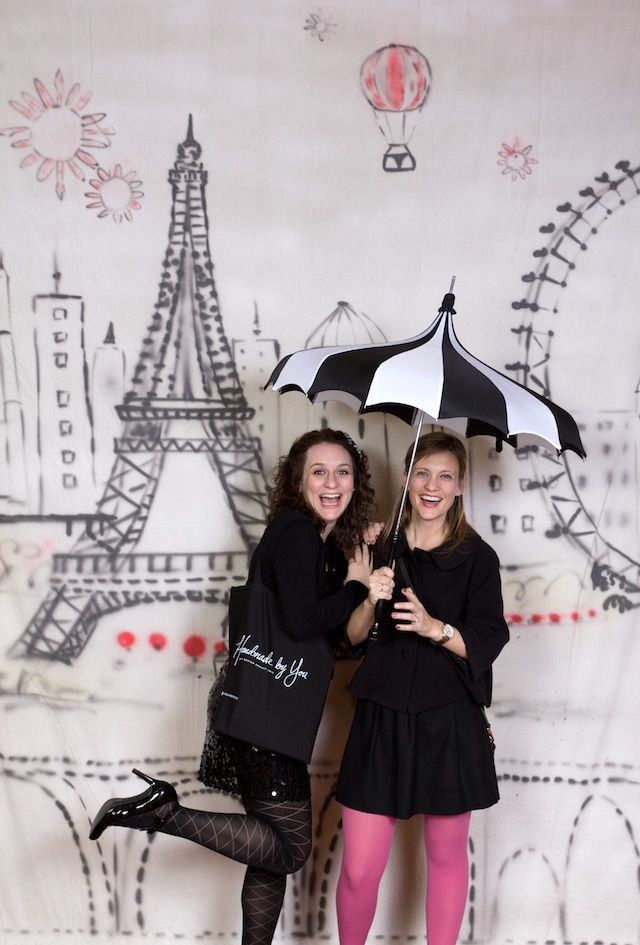 photobooth-cute background and umbrella....other props maybe a mustache and one of those french beanies...a baguette??