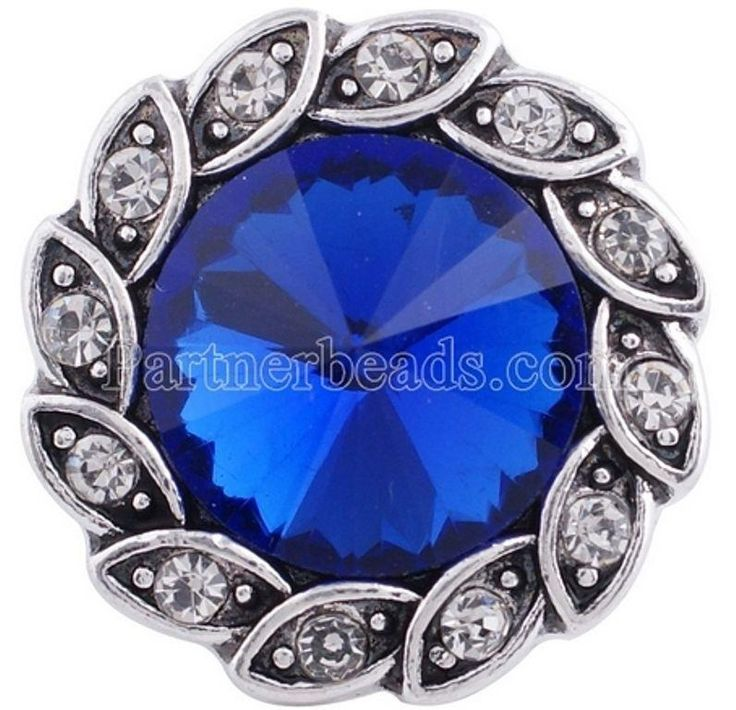 Silver Blue Rhinestone Flower 20mm Snap Charm Jewelry For Ginger Snaps