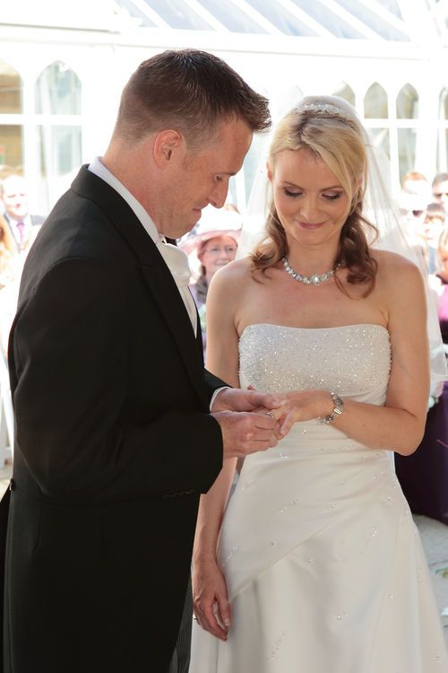 Placing the ring on the brides finger