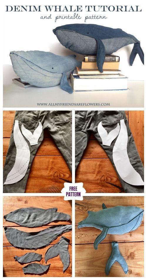 DIY Recycling Demin Jean Whale Plüsch Kostenlose Schnittmuster, #demin #kostenl…