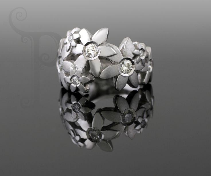 Handmade 18ct White Gold Catherine Ring, Set With Round Brilliant Cut Diamonds