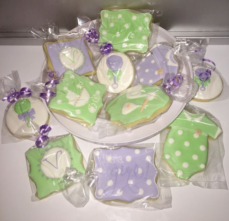 baby shower cookies lavender mint green white