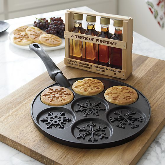 "Seasonal treats shape up in a mix of snowflake designs in this specialty pan with a proprietary nonstick finish that releases pancakes, johnnycakes, blinis, or blintzes with details intact. Makes seven 3"" portions using your favorite recipe or mix."