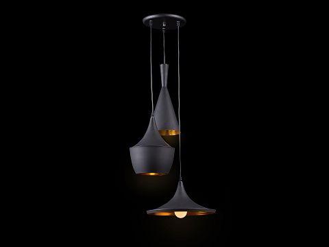 Taklampa svart - hängande lampa - en pendel med tre lampor - CARSON_551682