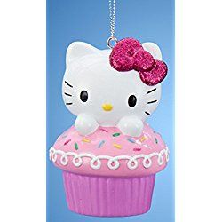 "3.25"" Pink and Red Hello Kitty Sprinkled Cupcake Christmas Ornament"