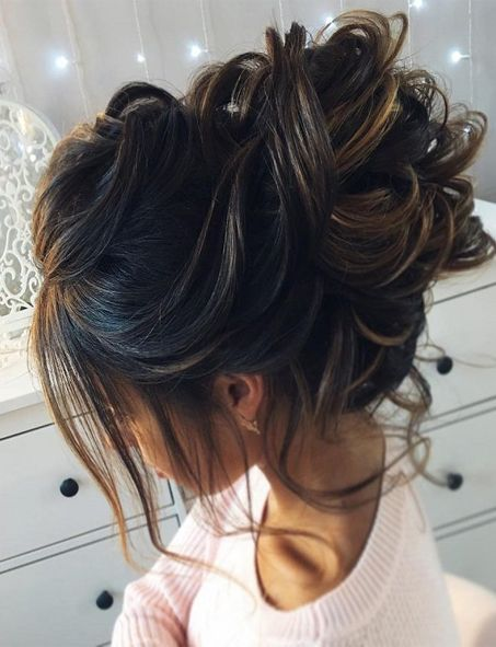 Messy Updo Brunette Hairstyles for Spring 2018