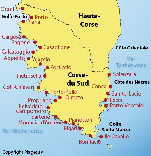 Corsica - Carte des  plages et stations balnéaires dans le département Corse du Sud (2a)
