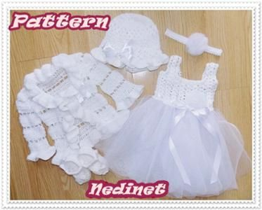 Crochet PATTERN, crochet tulle baby dress set 0-12