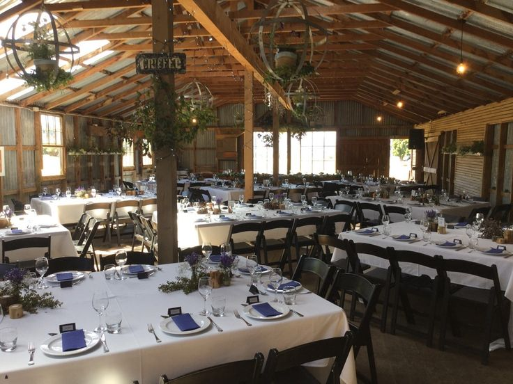 Square tables in Criffel Woolshed